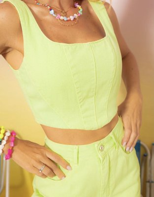 Cropped corselet verde lima - alcance