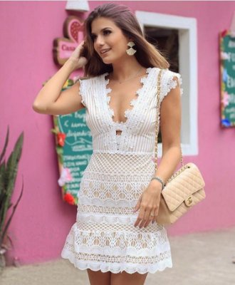 Vestido Off White com Guipir - Cloude