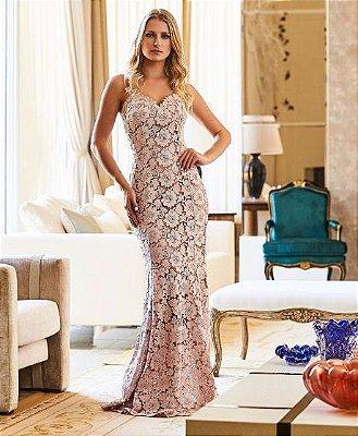 Vestido Longo Rosa Rendado - Eva Bella