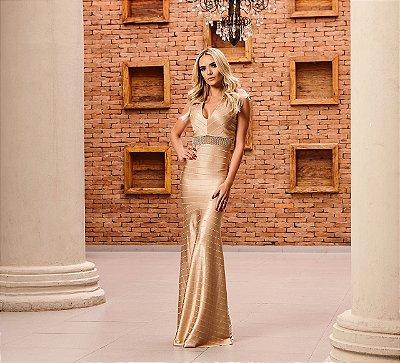 Vestido Longo Bandagem Ouro - Aquarella