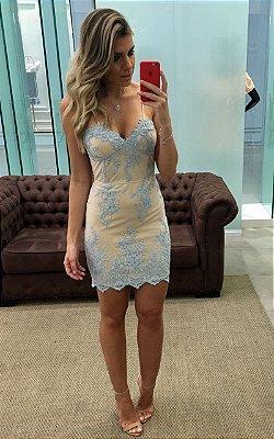 Vestido Curto Nude com Tule Bordado Azul Claro - Cloude