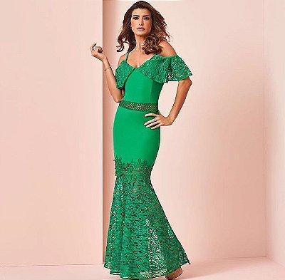 Vestido Longo Verde Crepe com Renda