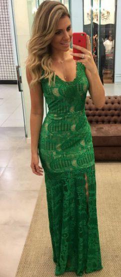 Vestido Longo Verde Rendado - Cloude