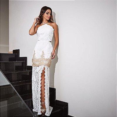 Vestido longo branco com dourado de renda - Desnude