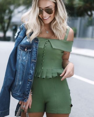 Blusa Cropped Verde Militar - Unicas