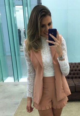 Conjunto Short e Colete Rose - Cloude