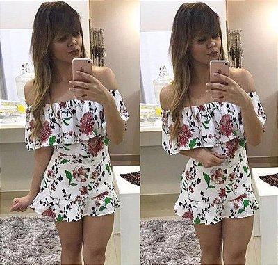Conjunto Floral Blusa Ciganinha e Short Saia