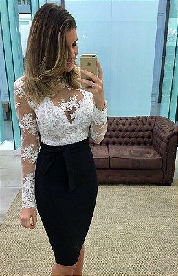 Vestido Curto Preto e Branco Maia - Cloude