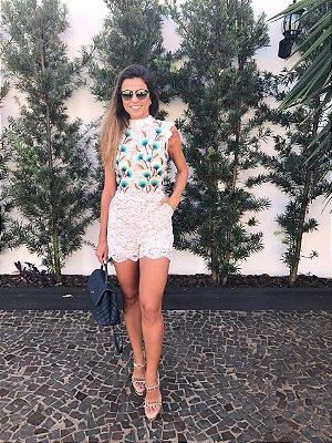 Macaquinho Curto Rendado Off White Lana - Cloude