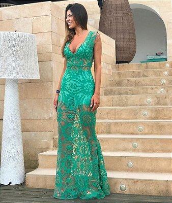 Vestido Longo Rendado Verde Ana Júlia - Cloude
