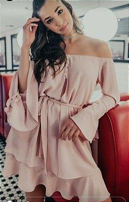 Vestido Curto Rosa Duas Camadas Esmeral