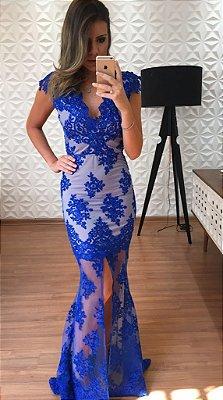 Vestido Longo Azul Barbara - Cloude