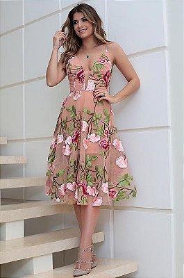 Vestido Midi Floral com Tule Ana Laura - Cloude