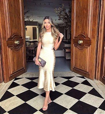 Vestido Midi Dourado de Bandagem - Aquarella