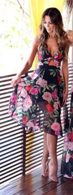 Vestido Midi Estampado Floral Stacie - Cloude