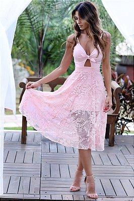 Vestido Midi Rosa Rendado - Cloude