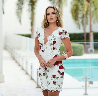 Vestido Off White com Rosas Darlene - Desnude
