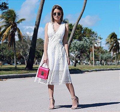 Vestido Midi Rodado Off White Renda Guipir - Luzia Fazolli