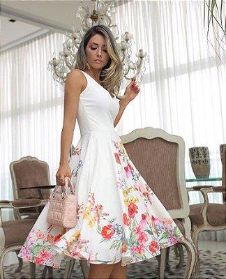Vestido Off White Alfaiataria Godê - Luzia Fazzoli