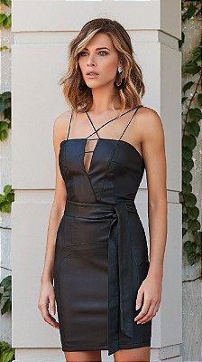 Vestido Preto de Couro Lorena - Desnude
