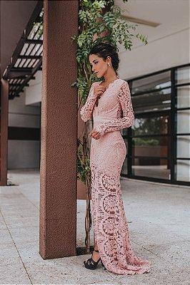 Vestido Longo Rose Rendado Julia - Cloude