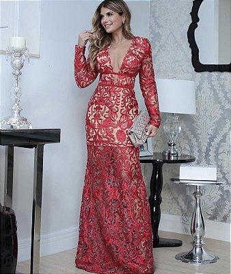 Vestido Vermelho Longo Manga Longa Samilly - Cloude dd0d0a783cf90