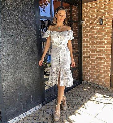 Vestido off white ciganinha lesie - Aquarella