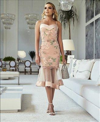 Vestido midi rosa Debora - Desnude
