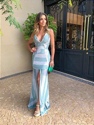 Vestido Listrado Azul e Off White - Aquarella