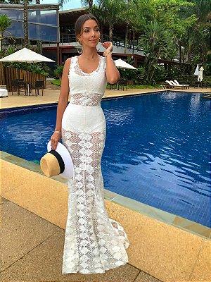 Vestido Longo Off White Hot Pants - Aquarella