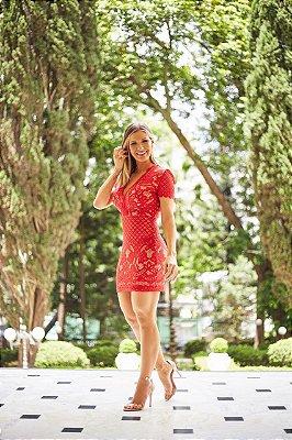 Vestido Vermelho rendado - Cloude dcb0d70481f1a