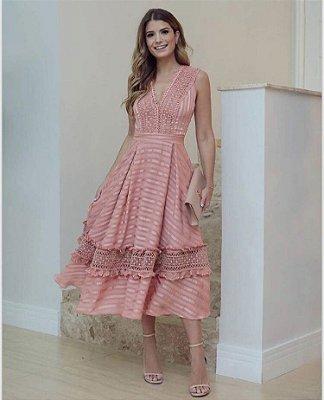 Vestido Midi Rose com Renda - Luzia Fazzolli