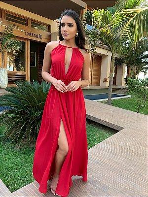 Vestido Longo Vermelho Decote Carol