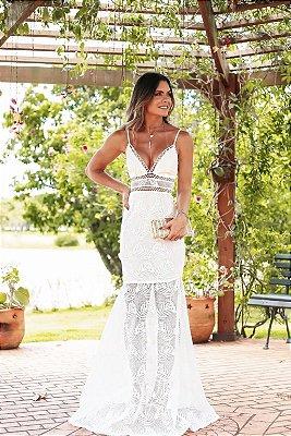 Vestido Longo Off White Valentina - LeBlog