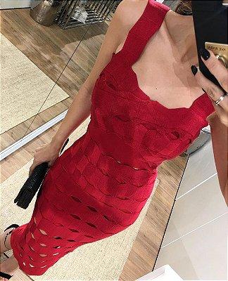 Vestido Midi Vermelho Bandagem
