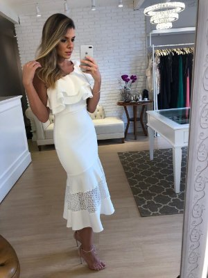 Vestido Midi Off White - Cloude