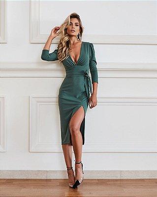 Vestido Verde Midi em Crepe Brenda - Desnude