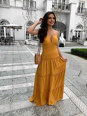 Vestido Longo Mostarda Carol