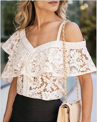 Blusa Off White de Renda - Luzia Fazzolli