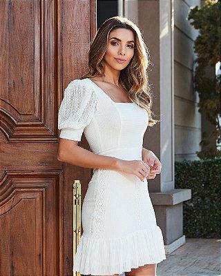 Vestido Off White Poliana - Desnude