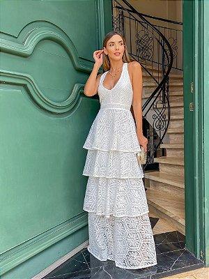 Vestido longo off white babados - aquarella
