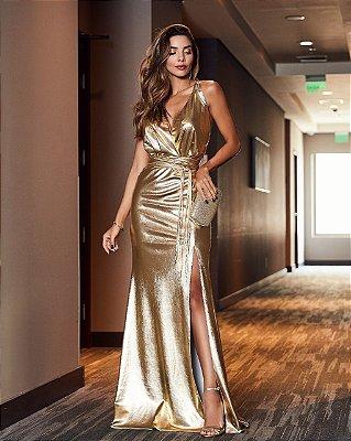 Vestido Longo Dourado - Desnude