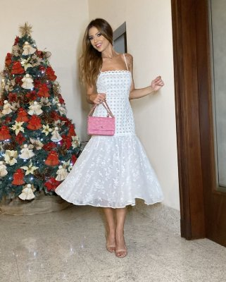 Vestido Midi Off White Cris - Cloude