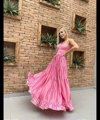 Vestido Longo Rosa Lais - Cloude