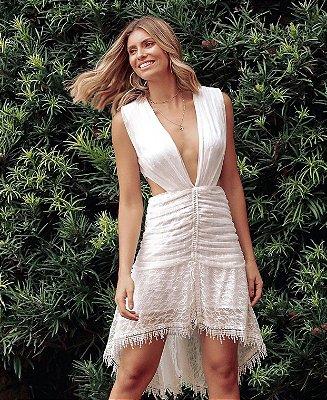 Vestido Off White com abertura - Leblog