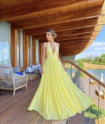 Vestido longo amarelo - cloude