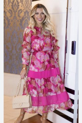 Vestido Midi Pink Floral - Luzia Fazzolli