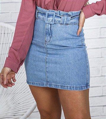 Saia Jeans com cinto forrado Blend