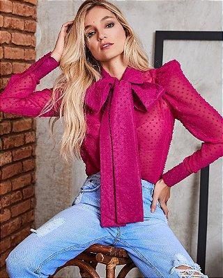 Camisa Pink com laço- cloude