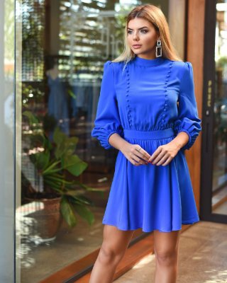 Vestido azul manga longa - cloude